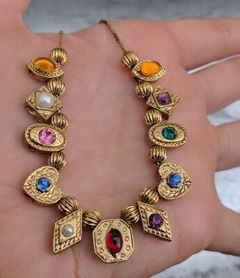 Vintage Multicolor Rhinestone Metal Slider Bead Charm Gold Tone Chain Necklace