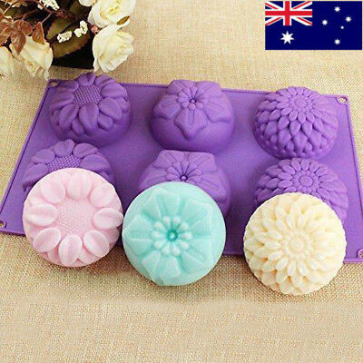 6 Cavity Flower Shaped Silicone Handmade Soap Candle Cake Mold Tool Supplies DIY