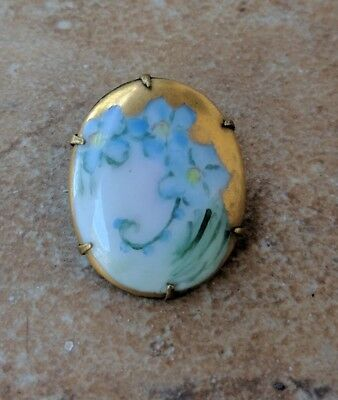 Antique Victorian Hand Painted Porcelain Ceramic Flower Gold Trimmed Pin Brooch