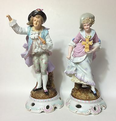 Pair of Large Antique Sitzendorf Hand Painted Figurines, Late 19th C. Dresden