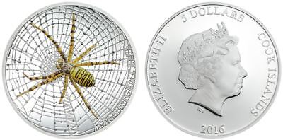 Cook Islands 2016 5$ 1 oz Proof Silver Coin Wasp Spider Magnificent Life