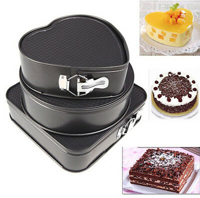 3 DIY Set Non-stick Springform Cake Pan Bakeware Mould Round Heart Square Shape