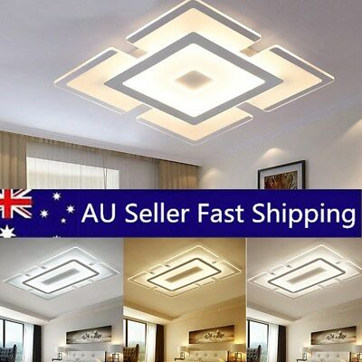 Elegant White Acrylic LED Ceiling Lamp Light Mounted Fixture Living Room Decor
