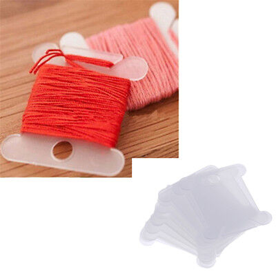 100Pcs Translucent White Plastic Bobbins Cards Floss Bobbins Thread Organizer