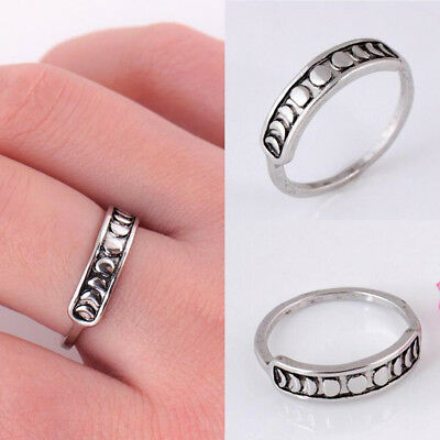 Handmade Silver Moon Phase Finger Rings Bands Fashion Women Jewelry Size 6-9