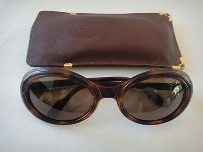 ffa2ff1ccb6a Vintage Used Cartier Frisson Tortoise Dark Lens Sunglasses France 18K