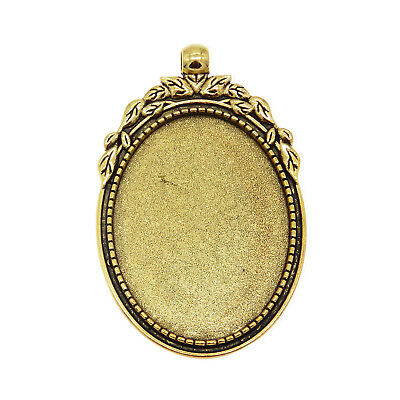 Vintage Silver Alloy Hollow Oval Setting Tray Cameo Pendants Findings 4pcs 50815