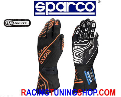 Guanti Auto Sparco Lap Rg-5 Omologati Fia Racing Gloves Handschuhe Black Orange