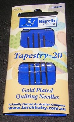 4 Tapestry Needles Size 20 Gold Plate Birch Quality Cross Long Stitch Embroidery