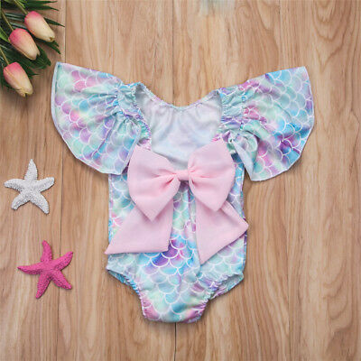 US Seller Kids Baby Girls Mermaid Swimwear Swimsuit Bikini Bathing Suit Costume