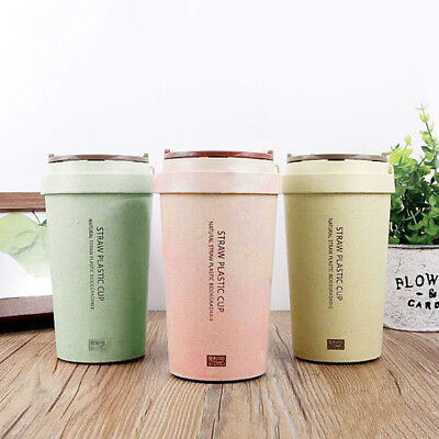 400 ml To Go Double Wall Wheat Straw Coffee Cup Travel Mug-Leak Proof With Lid