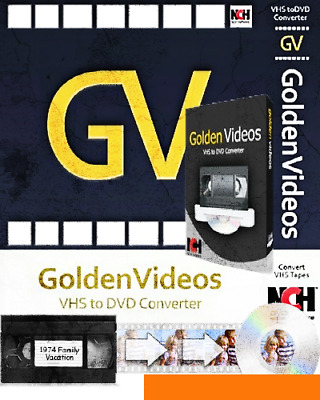 Golden Videos VHS to DVD Converter to your PC, DVD, AVI, MPEG ⭐Digital Download⭐