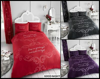 New Stylish Kiss Me GOODNIGHT Duvet Quilt Covers Bedding Sets Single Double King
