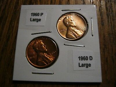 1960 P&D Large Date CENT UNCIRCULATED LINCOLN  BU US PENNIE YOU GET  2 Coins