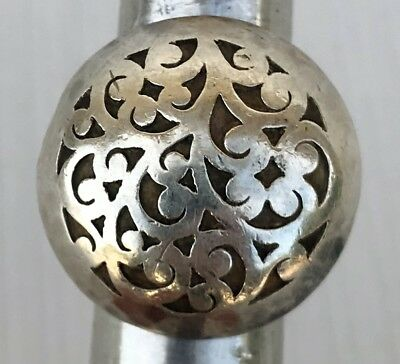 MASSIVE Designer Lois Hill  Sterling Silver Domed Scroll Filigree Design Ring
