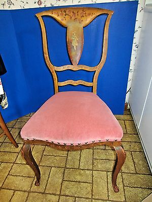 Antique early chair hand painted french Vernis Martin  colonial a little shabby