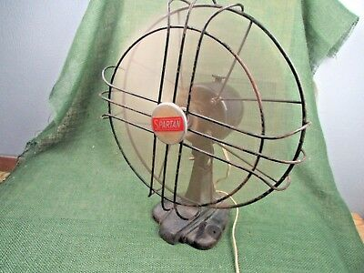 Vintage Spartan variable  2 speed oscillating table fan Art Deco RUNS