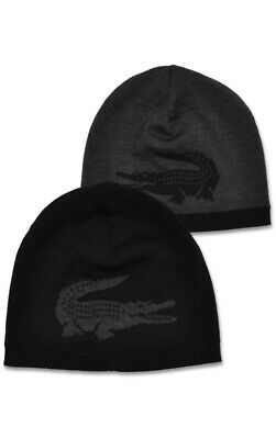 2aae826ebcd Lacoste RB3531Reversible Large Contrast Croc Jacquard Wool Beanie  Black Chine