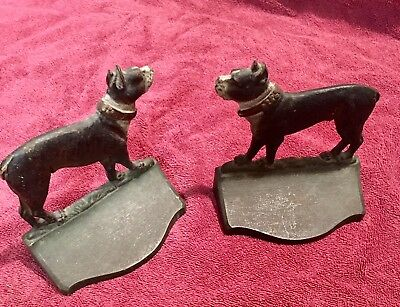 Very Original Bradley & Hubbard Antique Boston Terrier dog cast iron Bookends..