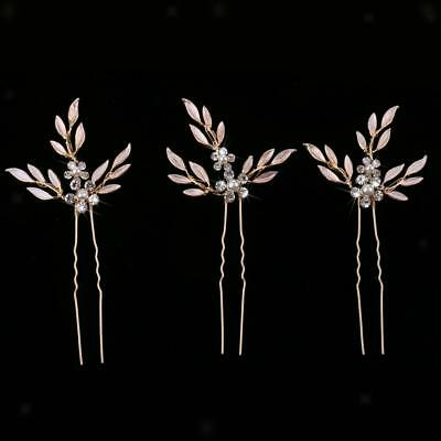 3pcs Wedding Banquet Bridal Pearls Leaf Headdress Hairpin Hair Accessories