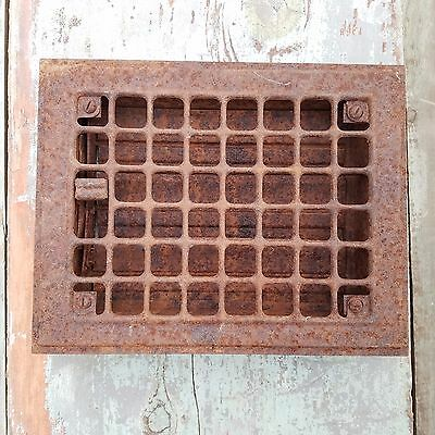 "Vtg Metal Floor Grate Register Or Grill Salvaged Vent 9 3/4""x 7 3/4"""