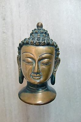 Unique Vintage Brass Statue Of Lord Buddha Face Very Fine Carving Art