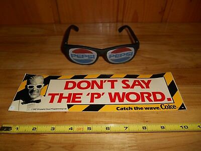 "1987 COCA-COLA COKE MAX HEADROOM ""DON'T SAY THE P WORD"" STICKER & Pepsi Glasses"