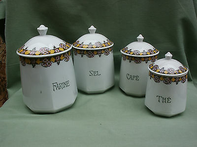 Lot De 4 Pots A Epices Porcelaine De Limoges C&m Paris Decor Frise Fleurie