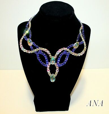 Women Ballroom Dance Jewelry Accessories Necklace Crystal AB and Sapphire
