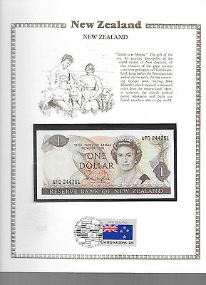 New Zealand 1 Dollar 1981-85 Hardie P169a GEM UNC w/FDI UN FLAG STAMP Prefix AFD