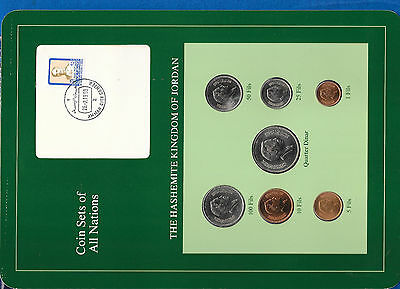 Coin Sets of All Nations Jordan w/card 1978-1989 UNC quarter Dinar 1981
