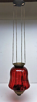 Electrified Victorian Adjustable Hall Light W/Cranberry Shade & Mount Hardware