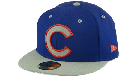 b7b311f97a1 CHICAGO CUBS XL LOGO New Era 59Fifty MLB Gray Blue Fitted Cap Hat Size 7 1