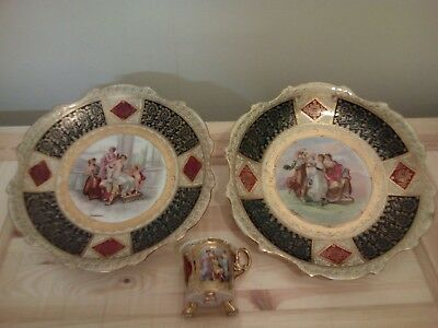 pair royal vienna chargers / plates signed kaufmann & cup