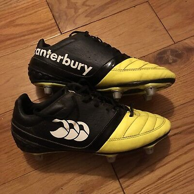 Boys Canterbury Rugby Boots Black/yellow Leather Size 5