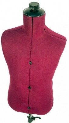 Adjustable Child-Size Maroon Nylon Mannequin Dress Form With Steady Tripod Base