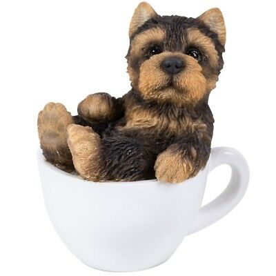 "Mini Teacup Pups  Series - Yorkie Pup Figurine 3"" - New In Box - Free Ship"