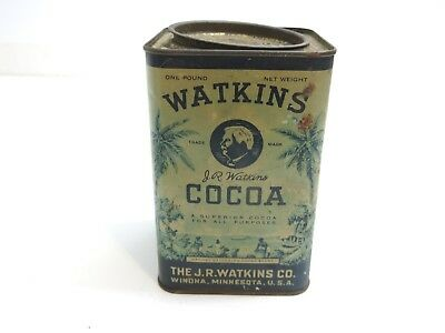 Vintage 1930's J R Watkins Cocoa Tin With Lid One Pound Size Winona Minnesota