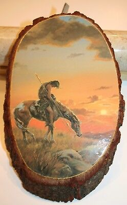 """End of the Trail Art Mounted on Sliced Wood Bark """"Image 8 1/2"""" x 6""""  Nice Piece"""