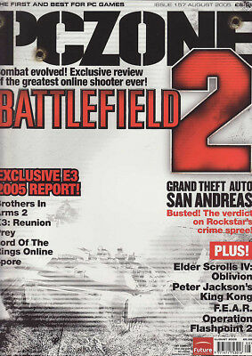 PC ZONE MAGAZINE issue 157 AUGUST 2005 - BATTLEFIELD 2 cover!