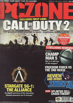 PC ZONE MAGAZINE issue 154 MAY 2005 - CALL OF DUTY 2 cover!