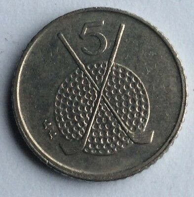 5p coin -MANX  ISLE OF MAN -FIVE PENCE- GOLF -sport - golf -games- 1994 ,