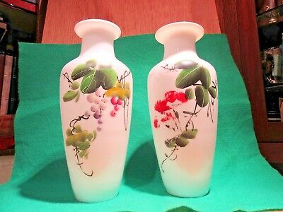 Antique Pair of White Opaline Glass Vases with Hand Painted Berry's