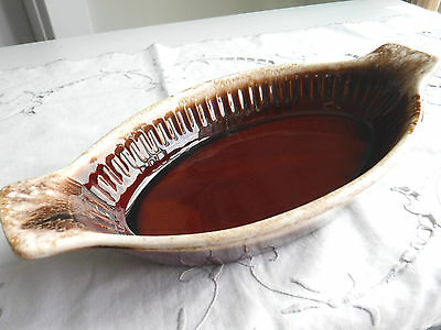 Vtg Mccoy Oval Casserole Dishes Brown Drip Baking Dish