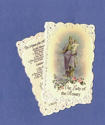 Embossed Holy Card Our Lady Of The Rosary Hail Mary Powerful Prayer 20 Mysteries