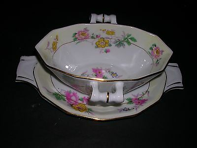 "Crown Imperial Czechoslovakia ""GRAVY BOWL"" 10"" With handles,Flowers,VINTAGE."
