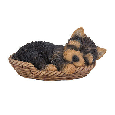 """Wicker Basket Pet Pals - Yorkie Pup Figurine 7"""" - New In Box  Free Shipping"""