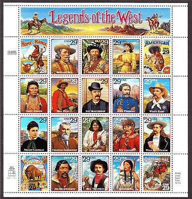 US 1993 2869 29c Legends of the West Mint Sheet OG NH