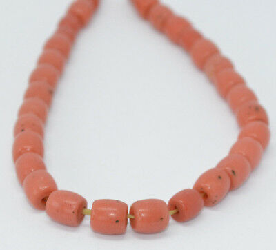 Collectible Rare Salmon Pink Coral Beads. Natural, No Dyes. 32 Antique Beads