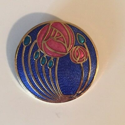 Celtic Sea Gems Mackintosh style Cloisonne enamel circular brooch blue flower